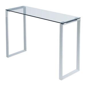 Simple Glass Console Table Clear Glass Chrome Legs Modern LivingRoom Coffe Table