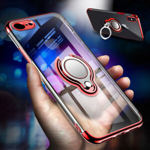 Case for i Phone 8 7Plus XS Max XR Magnetic Shockproof 360Ring Stand Clear Cover