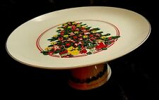 "Decorative Christmas Cake Stand  X-mas Tree Pedestal Cake Plate 10"" Vintage"