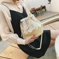 Women Woven Bucket Bag Lace Straw Drawstring Boho Ethnic Style Beach Rattan