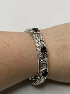 Judith Ripka Sterling Silver Multi-Stone Smoky Quartz CZ Hinged Cuff Bracelet
