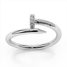 0.10 Ct Diamond Engagement Ring Solid 14K White Gold Band Round Cut Size M N O P