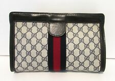 Authentic Vintage GUCCI PARFUMS Web Clutch Purse Cosmetic Bag Handbag