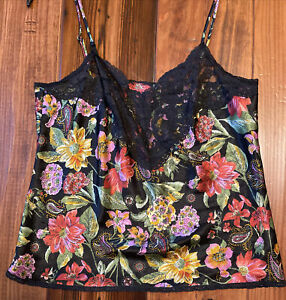 Vintage Vanity Fair Black Floral Lace Satin Camisole Cami Size 34-36