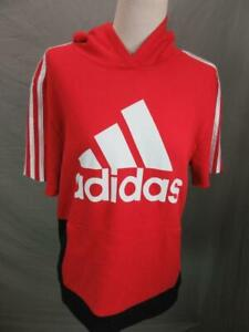 Adidas Size L(14-16) Boys Red Athletic Cotton w/Pockets Short Sleeve Hoodie T109