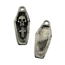 "Voodoo Skull Coffin Amulet Artisan Gothic Style 1.25"" Necklace Pendant Charm"