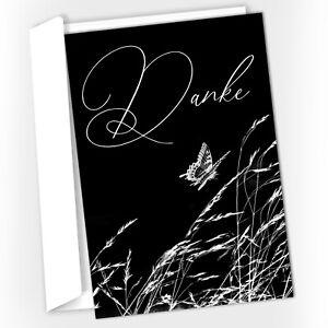 15 Trauer-Danksagungskarten Trauer-Karten mit Umschlag, Gräser, Schmetterling