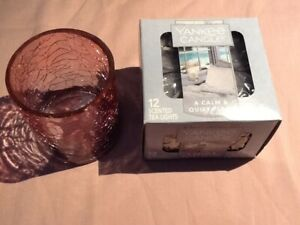 Yankee Candle Muted Autumn Glass Holder &  Calm and Quiet Place Tealights/New!