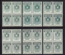 Greece 1936 General Revenue 10-500 dr blocks 4 Mnh