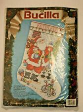 Vtg Bucilla Cross Stitch Kit 83050 Christmas Eve Stocking Santa Toys Tree