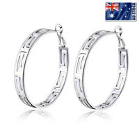 Women's New 925 Sterling Silver Filled 45mm Big Round Hoop Earrings Greek Style