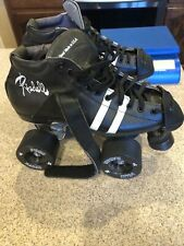 Riedell Men's Size 6 Black White Stripe Toe Stop Speed Skate Boot Lace Up