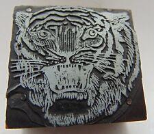 Printing Letterpress Printers Block Large Animal Head Tiger