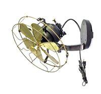 "12"" Vane brass wall mount fan 3 speed oscillating antique vintage decorate room"