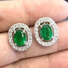 VIVID! 4.82TCW Emerald VS Diamonds 18K solid white gold earrings Natural Zambian