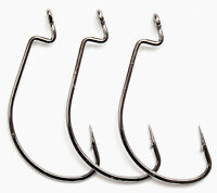 Lot 100pcs Worm Hook Jig Big Fishing Hooks Black Fishhook Treble Size 6# - 5/0#