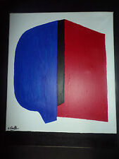 Original abstrait peinture à l'huile SERGE POLIAKOFF style bleu rouge lignes rencontrer Noir