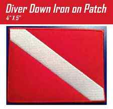 Diver Down Flag Scuba Patch LARGE 5x4 Iron On Embroidered Red Adventure Gear