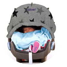 Dooky Universal Sun Shade for Pram Car Seat Pushchair Uv40 Grey Stars