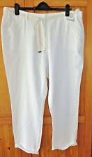 "BNWT Ladies Plus Size 20 48 White Linen Mix Trousers 27"" Roll Ups BHS"