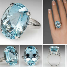925 Silver Large New Fashion Oval Cut Aquamarine Ring Women Jewelry Gift SZ 6-10