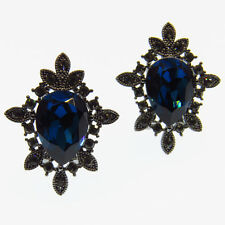 Classic Fashion VTG Stud Pierced Earrings Repro Jewelry Blue Crystal Black Tone