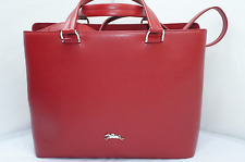 Auth. Longchamp Ruby Red Color Made in France Honoré Medium tote bag (HOT RED!!)