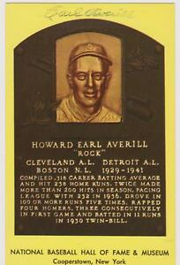 SIGNED EARL AVERILL AUTOGRAPHED HALL OF FAME PLAQUE - DECEASED 1983 COA