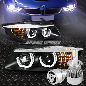 BLACK HALO PROJECTOR HEADLIGHT+CORNER+WHITE LED H7 HID W/FAN FOR 06-08 BMW E90