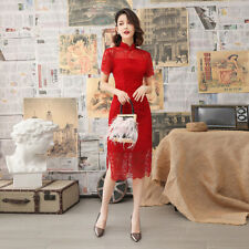 New Lace China Red Hallowed Floral Satin Short Dress Cheongsam Qipao lcdress111