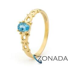 Natural Blue Topaz 9ct 9k Solid Yellow Gold Ring Size P 7.75 25060/BT