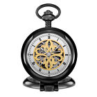 Vintage Hand-Wind Mechanical Pocket Watch Skeleton Luxury Steampunk Gift Black