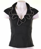 KAREN MILLEN Womens Blouse Top UK 8 Small Black Cotton  BA02