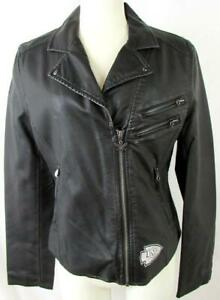 Kansas City Chiefs Womens Small TOUCH Full Zip Faux Leather Jacket AKAC 274