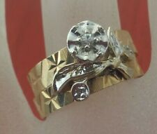 14k Solid Gold Set of Diamond Solitaire Engagement & Wedding  Band Ring Size 8.5