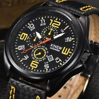 New Fashion Men's Watches Leather Analog Quartz Date Military Sports Wrist Watch
