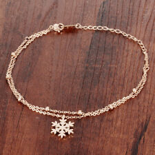 Snowflake Faceted Rose Gold GP Surgical Stainless Steel Ankle Bracelet Gift