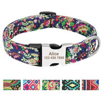 Personalised Boho Tribal Floral ID Dog Collars Laser Engraved Metal Buckle S M L