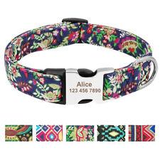 Personalised Boho Tribal Floral ID Dog Collars Laser Engraved Metal Buckle S M L