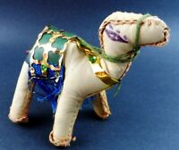 "Leather Christmas Nativity Camel Vintage 5"" tall Moroccan Egyptian Handmade"