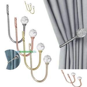 2Pcs Metal Crystal Curtain Holdback Wall Tie Backs Hook Hanger Holder Home Decor