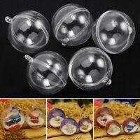 10X Clear Plastic Christmas Balls Baubles Sphere Fillable Xmas Tree Ornament