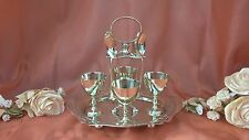 VINTAGE SILVER PLATE 4 EGG CUPS AND SPOONS ON STAND - REGIS PLATE