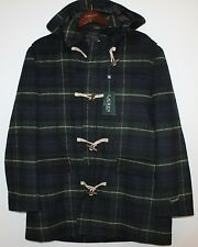 Polo Ralph Lauren Mens Green Black Tartan Plaid Wool Overcoat Jacket NWT XXL 2XL