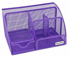 Desk Metal Tray Organizer Office Supplies Storage Pencil Pen Holder Caddy Purple