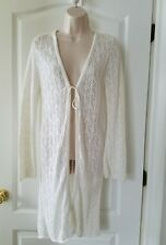 White Crochet Long Sleeve Cover Up One Size