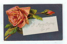 """Vintage Postcard """"A Merry Christmas To you"""" Blooming Rose and Bud 1323 1908"""