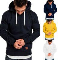 Mens Winter Hooded Pullover Jumper Tops Hoodies Sports Sweatshirt Plain Outwear