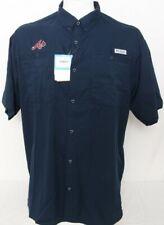 NEW Atlanta Braves MLB Navy Blue Columbia PFG Tamiami Short Sleeve Shirt Men's L