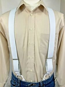 """New, Men's, White Dressy Button-On, XL,1.5"""", Adj. Suspenders/Braces, Made in USA"""